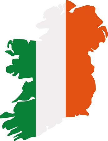 ire: Ireland map silhouette in colors of the irish flag