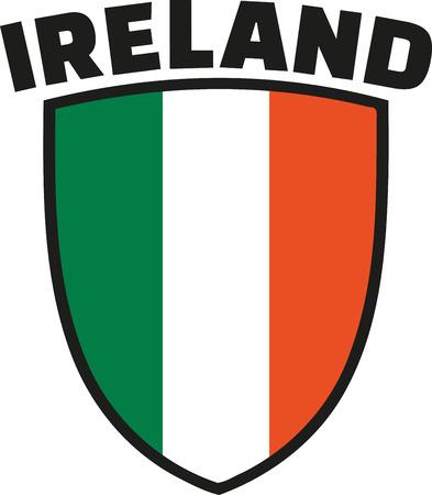 ire: Ireland word with irish flag emblem