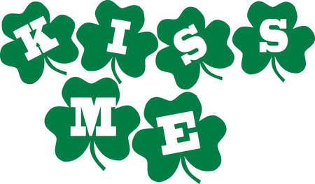 clovers: Kiss me - irish text with clovers Illustration