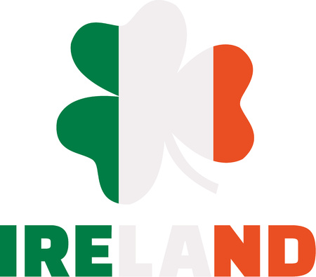 ire: Clover with ireland flag colors and ireland word