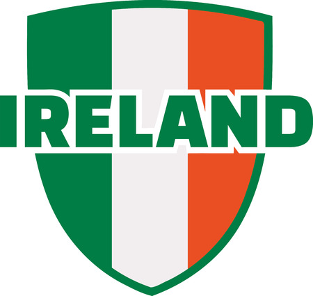 ire: Emblem in irish colors and ireland word