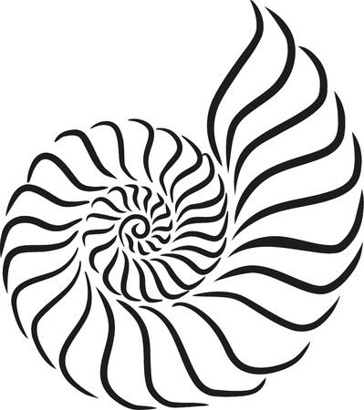 lumaca stile calligrafia Shell Vettoriali