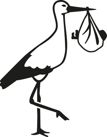 Realistic silhouette of a stork with a baby in his beak