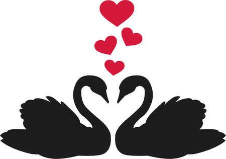 swans: Swans in love with hearts Illustration
