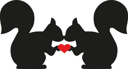 Eekhoorns in liefde met hart Vector Illustratie