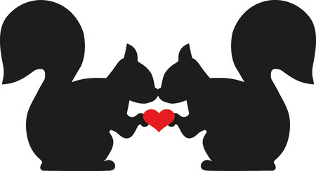 Scoiattoli in amore con cuore