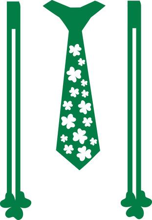 suspenders: St. Patricks Day tie with suspenders and shamrocks