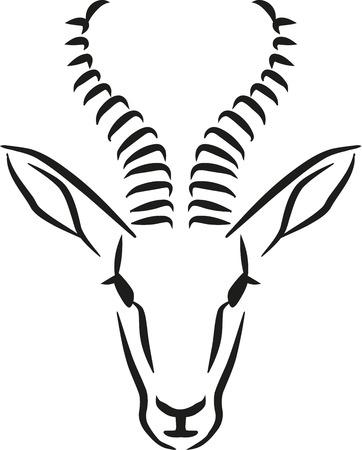 springbok: Springbok head caligraphy style