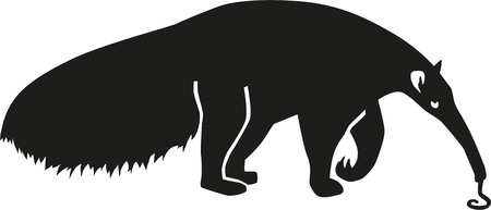 eater: Ant Eater silhouette with tongue Illustration