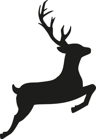 Jumping reindeer silhouette Фото со стока - 51171488
