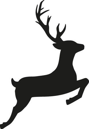 Jumping reindeer silhouette