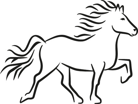 Iceland horse  イラスト・ベクター素材