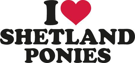 shetland: I love shetland ponies Illustration
