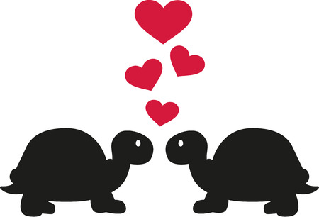 turtles love: Two turtles in love with hearts
