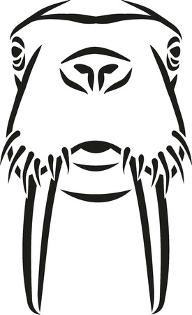 caligraphy: Walrus head caligraphy style Illustration