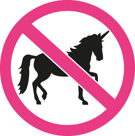 ban sign: Unicorns forbidden ban sign