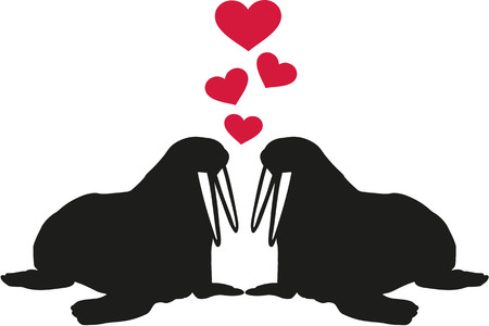 tusks: Two Walruses in love with hearts