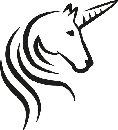 Unicorn head caligraphy Ilustracja