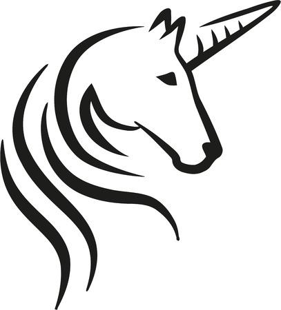 Unicorn head caligraphy Stock Illustratie