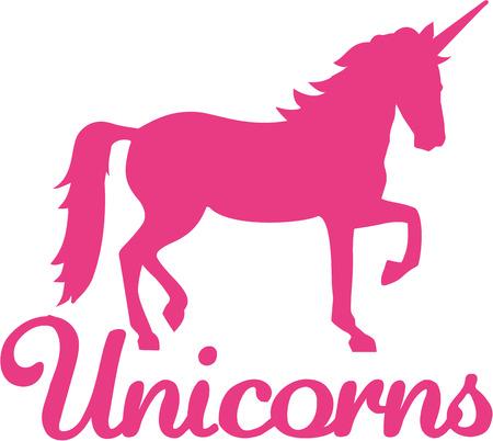 Unicorn with word unicorn