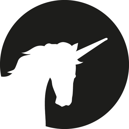 Unicorn head silhouette in front of moon Illustration