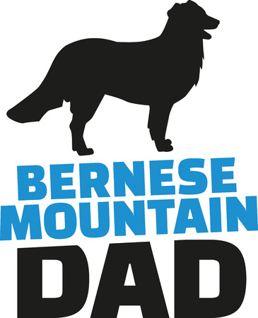 bernese: Bernese mountain dad with dog silhouette Illustration