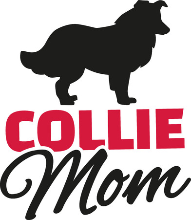 border collie: Collie Mom with dog silhouette