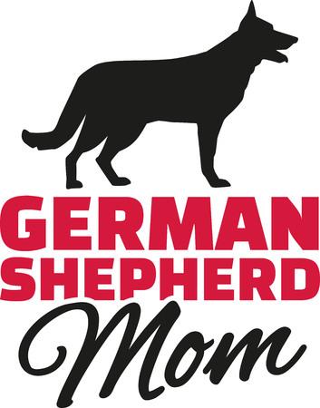 Mamá del pastor alemán con la silueta del perro