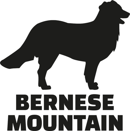 bernese: Bernese mountain silhouette with breed name