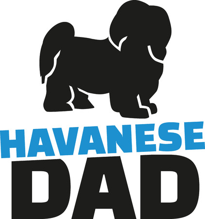 havanese: Havanese dad with dog silhouette