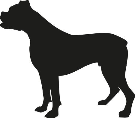 perro boxer: silueta del perro del boxeador Vectores