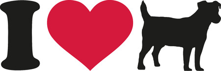 jack russell terrier: I love my Jack Russell Terrier icon Illustration
