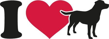 labrador: I love labrador icon Illustration