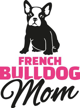 Französisch Bulldog Mom mit Hund Silhouette Vektorgrafik