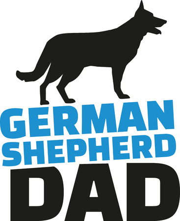 alsatian: German Shepherd dad with dog silhouette Illustration