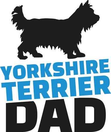 yorkshire terrier: Yorkshire Terrier dad with dog silhouette Illustration