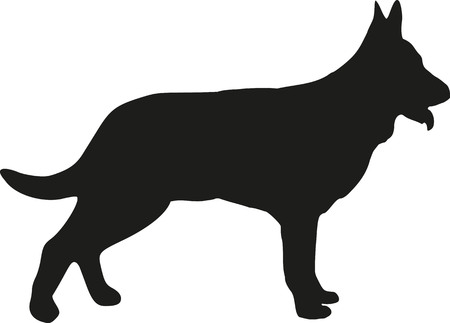 alsatian: German Shepherd dog silhouette Illustration