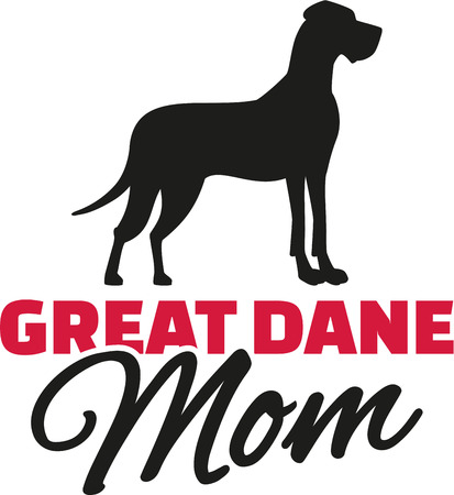 dane: Great dane Mom with dog silhouette