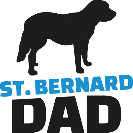 dad: St. Bernard dad with dog silhouette Illustration