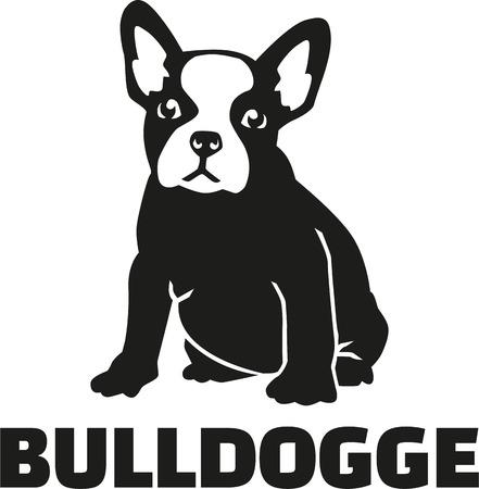 bulldog francés con el nombre de la raza Ilustración de vector