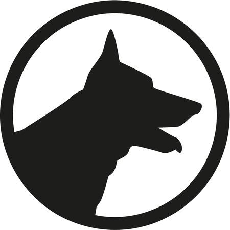 tête de berger allemand dans un cercle