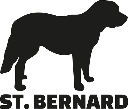 st bernard: St. Bernard dog with breed name Illustration