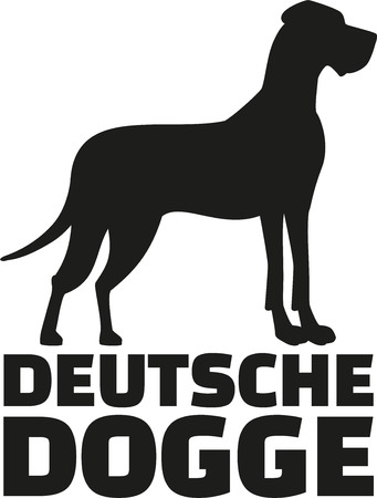 Great dane with breed name deutsche dogge Illustration