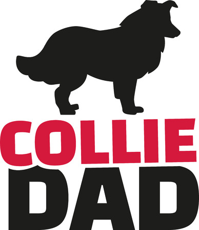lassie: Collie dad with dog silhouette