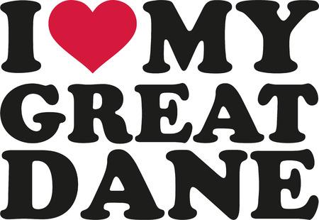 great dane: I love my Great dane Illustration