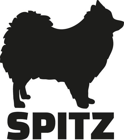 pom pom: Pomeranian with german breed name spitz Illustration