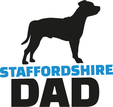 dad: Staffordshire Bull Terrier dad with dog silhouette