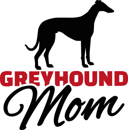 Greyhound Mom with dog silhouette Vectores