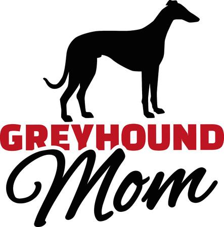 Greyhound Mom with dog silhouette Illustration
