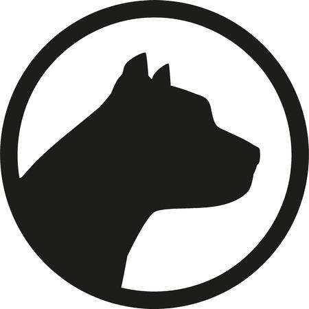 Pit bull head silhouette in circle Stock Illustratie